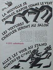 PUBLICITE LES VOITURES CHRYSLER AU SALON AUTOMOBILE DE 1926 FRENCH AD ADVERT PUB