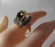 QVC 14K 14KT Yellow Gold Champagne Citrine Diamond Size 7.75 Ring 5 Grams SCBS