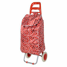 Red Giraffe Print Folding Lightweight Wheeled Grocery Cart Shopping Trolley Bag
