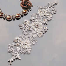 Sequin Bridal Beaded Lace Applique Floral Wedding Motif Lace Applique 1 Piece