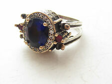 925 Sterling Silver Turkish Hurrem Sultan Sapphire Ruby Topaz Jewelry Ring 7.5