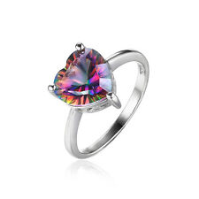 Fashion Genuine Fire Rainbow Topaz Ring Solid 925 Sterling Silver Size 9