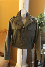 Battle Dress  Wool Coat Jacket Women's Size 9 Army Military - Uniform 1953 GREEN