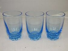 "3 Imperial Glass Candlewick Viennese Blue Juice Tumblers,3 1/2"" Tall, Ball Feet"