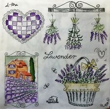 4 x Single PAPER NAPKINS vintage hearts lavender  DECOUPAGE CRAFT-88