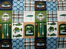 Flannel fabric fish fisherman lure boat canoe quilt print sewing material BTY
