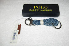 POLO Ralph Lauren Snap Shackle Braided Key Chain Fob NWT Boxed Indigo Blue
