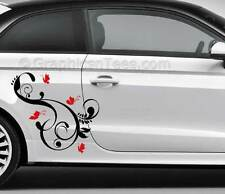 Butterfly Flower Car Stickers Custom Vinyl Graphic Decals - Various Colours