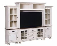 Amish Cottage Country TV Entertainment Center Wall Unit White Painted Glazed