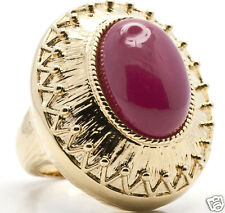 Cat Deeley Bold Statement Mauve Red Cabochon Size 7.5 Gold-tone Ring NEW