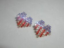 HEART EARRINGS AUSTRIAN CRYSTAL USA FLAG VFW VALENTINE MEMORIAL LABOR DAY JULY 4