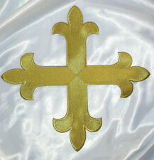 "Iron On Embroidered Appliqué Patch - 12"" x 12"" Metallic Gold Cross"