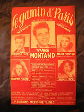 Partition Le gamin d'Paris Yves Montand Francis Linel Lancel 1951 Music Sheet