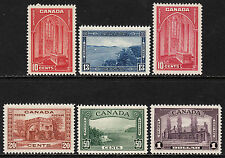 Canada 1938 Pictorial Issue w/varieties, Scott 241-245i, VF MH, catalogue - $282