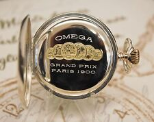 beautiful antique full serviced solid silver OMEGA GRAND PRIX PARIS pocket watch
