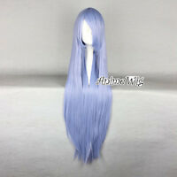 Lolita Light Blue Long 100CM Straight Fashion Heat Resistant Women Cosplay Wig