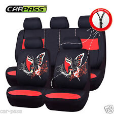 Universal BLACK RED Car seat covers Set For Women Front with Rear breathable Set
