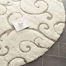 Safavieh Cream/Beige Traditional Sculptured Decorative Shag Area Rug (4' Round)