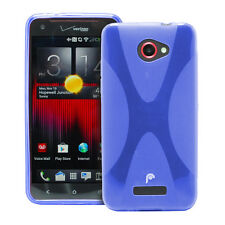 Fosmon Durable X Shape TPU Protector Case Cover Skin for HTC Droid DNA - Blue