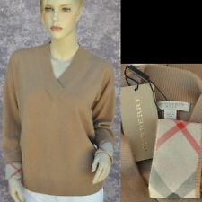 BURBERRY LONDON New sz L 100% Cashmere Authentic Designer Womens Sweater check