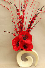 ARTIFICIAL SILK DISPLAY - RED POPPY FLOWERS WITH GRASSES IN CREAM FOSSIL VASE