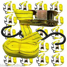 "Ratchet Tie Down Cargo Straps 1"" inch x 15' Ft with S Hooks - 20 Lot Pack"