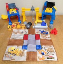 Geo Trax Construction Lot ~ Rare Play Mat, Dynamite, Boulders, Buildings, Loader