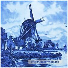 DELFT STYLE BLUE AND WHITE WINDMILL CHINCHILLA GLASS TILE TEAPOT TRIVET STAND