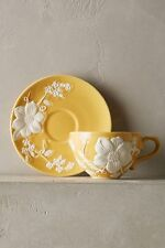 NEW ANTHROPOLOGIE HOME Kitchen Petal Vines Textured Cup & Saucer Yellow 2 SETS