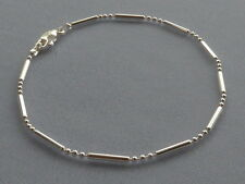 "8"" STERLING SILVER BRACELET- BAR + 3 ROUND BEADS - ITALY 925"