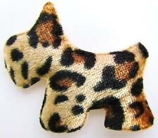 "30 Brown/Black Leopard Fabric Scottie Dog 2"" Applique/Craft/Sewing/Trim/Bow H153"
