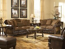 "Ashley ""Fresco Durablend"" Antique Old World Sofa Set Furniture 63100"