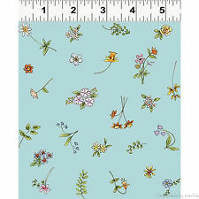 Fabric Teal Floral Toss Cats in Garden Y1824-101 Clothworks new bty