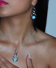 Natural Larimar 10mm Earrings And Neclace Set White Sappires.925 Sterling Silver