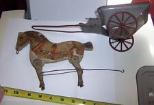 Antique Gibbs Wood Lithograph Horse  with tin dump wagon as is neat parts 1910