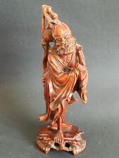 Antique 19th /20th c Japanese hand carved rosewood figure Jurojin god of fortune