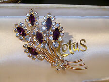 VINTAGE JEWELLERY RICH AMETHYST MARQUIS & CLEAR RHINESTONE FLOWER BROOCH PIN