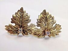 Fine Antique Victorian 18K Yellow Gold and Diamond Oak Leaf Earring Studs