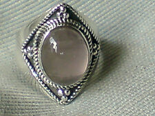 STERLING SILVER & ROSE QUARTZ AUTHENTIC DESIGN INDIAN RING U.Ksize O  £17.95 NWT