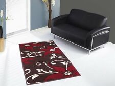 Grande mano intagliato TAPPETO - 75 x 150 cm-Marrone-Rosso Fiori-CREMA Foglia Design