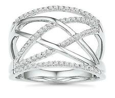 Fabulous! 100% 10K White Gold & White Diamond Cage Style Cross-Over Ring .33ct