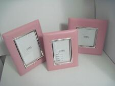"Cunill Barcelona ""Manor"" Sterling Silver & Pink Leather Photo Frame Set Of 3-NOS"