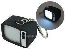 Black Retro TV Set Television Key Chain Ring with LED Light and Sound