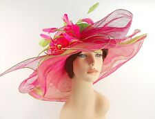 New Woman Church Derby Wedding Sinamay 3 Layers Dress Hat 3534 Lime and Hot Pink