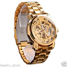 New Luxury Automatic Mechanical Skeleton Gold Men's Wrist Watch Stainless Steel