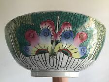 Fine Old LARGE Antique Chinese Cabbage Leaf Butterfly Bugs Famille Verte BOWL NR