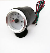 Car Pointer Tachometer Tach Gauge With Black Holder Cup Bracket Blue Backlight