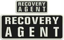 RECOVERY AGENT embroidery patches 4x10 and 2x5 hook on back white