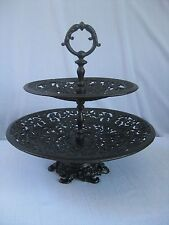 Vintage Cast Iron Greek Gods Pierced Pedestal Bowl 2 tier dessert/cake stand