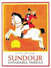 ADVERTISING CLOTHING FABRIC MATERIAL HUNTSMAN HORSE SUN HORN UK POSTER LV626